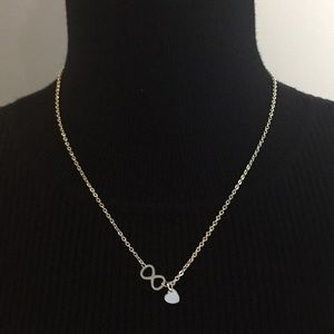 Vintage Silver Tone Infinity Heart Necklace